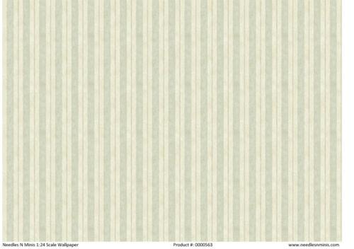 """0000563 1:24 1//2/"""" Scale Miniature Dollhouse Wallpaper Lt Green Stripe 3 Sheets"""