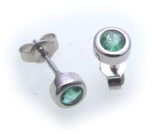 Ohrringe-Stecker-Smaragd-echt-Weissgold-585-14kt-Damen-Ohrstecker-Gold-gruen