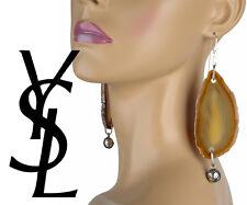 YVES SAINT LAURENT DROP PENDANT EARRINGS YSL AGATE & LOGO ARTY COLL. NATURAL IV