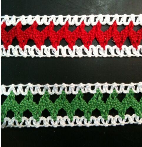 5 MÉTRES  RUBAN  LAINE ACRYLIQUE  dentelle du puy au crochet  H 2.5CM      L 106