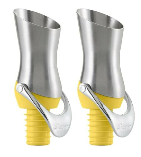 2 Pack Savora Stainless Steel Kitchen Wine Pourer and Stopper Citron