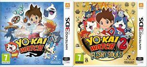 NEU-amp-VERSIEGELT-Yo-kai-Watch-amp-Yo-kai-Watch-2-fleischige-Seelen-Nintendo-3ds-Spiele