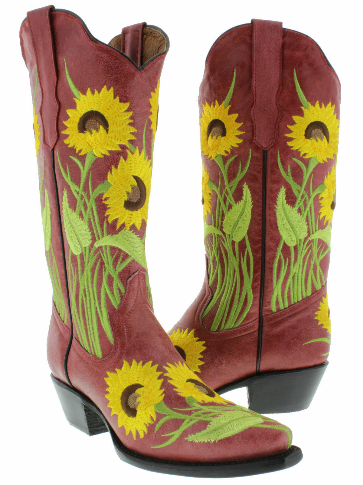 Womens Red Sunflower Leather Western Cowboy Boots Rodeo Summer Cowgirl