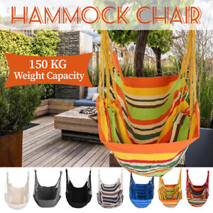 Deluxe Hammock Chair Hanging Rope Chair Porch Swing Garden Patio Camping