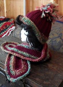 "Crocheted Hat & Scarf Set - ""Ruby Rich Multi"""