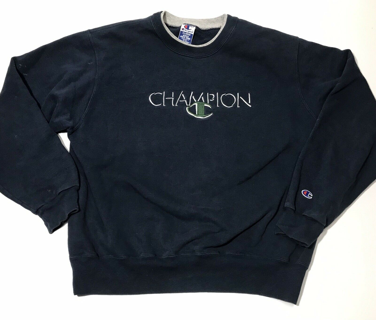 Men's Size XL Vintage Champion Sweatshirt Navy bluee Heavy SPELL OUT