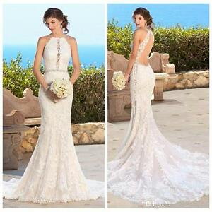 Details About Halter Neck Lace Mermaid Wedding Dress Y Backless Beach Bridal Gown Size 4 6