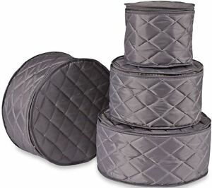 Image Is Loading China Plate Storage Protector 4 Piece Grey Quilted