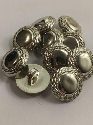 Argent Tige boutons 18 mm//ABS 28 L matières non métalliques pack de 10