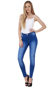 Ladies-Stretch-Denim-Look-Womens-Skinny-Leggings-Cotton-Slim-Jeggings