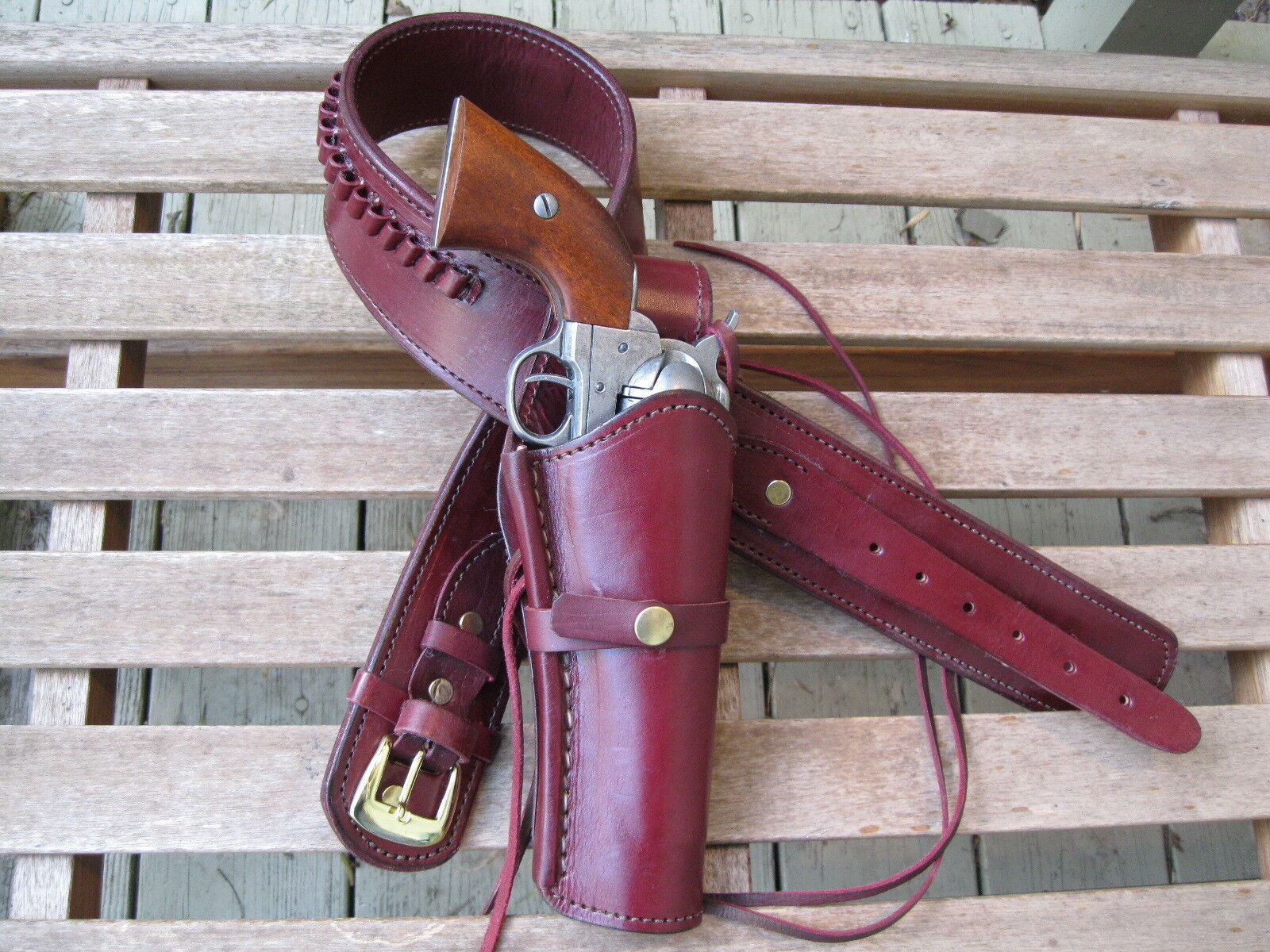 Gun Belt Combo - .22 Caliber - Smooth Holster - Wine - Leather - 34  to 52