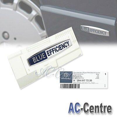 2x GENUINE OEM MERCEDES BENZ BLUE EFFICIENCY CHROME SIDE FENDER EMBLEM BADGE AMG