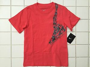 NWT-NIKE-Youth-Boy-Girl-Floral-Short-Sleeve-Coral-Sneaker-Tee-T-Shirt-717818-633