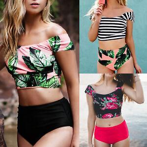 96f70103d3a82 Womens High Waisted Bikini Set Crop Top Striped Floral Tankini ...