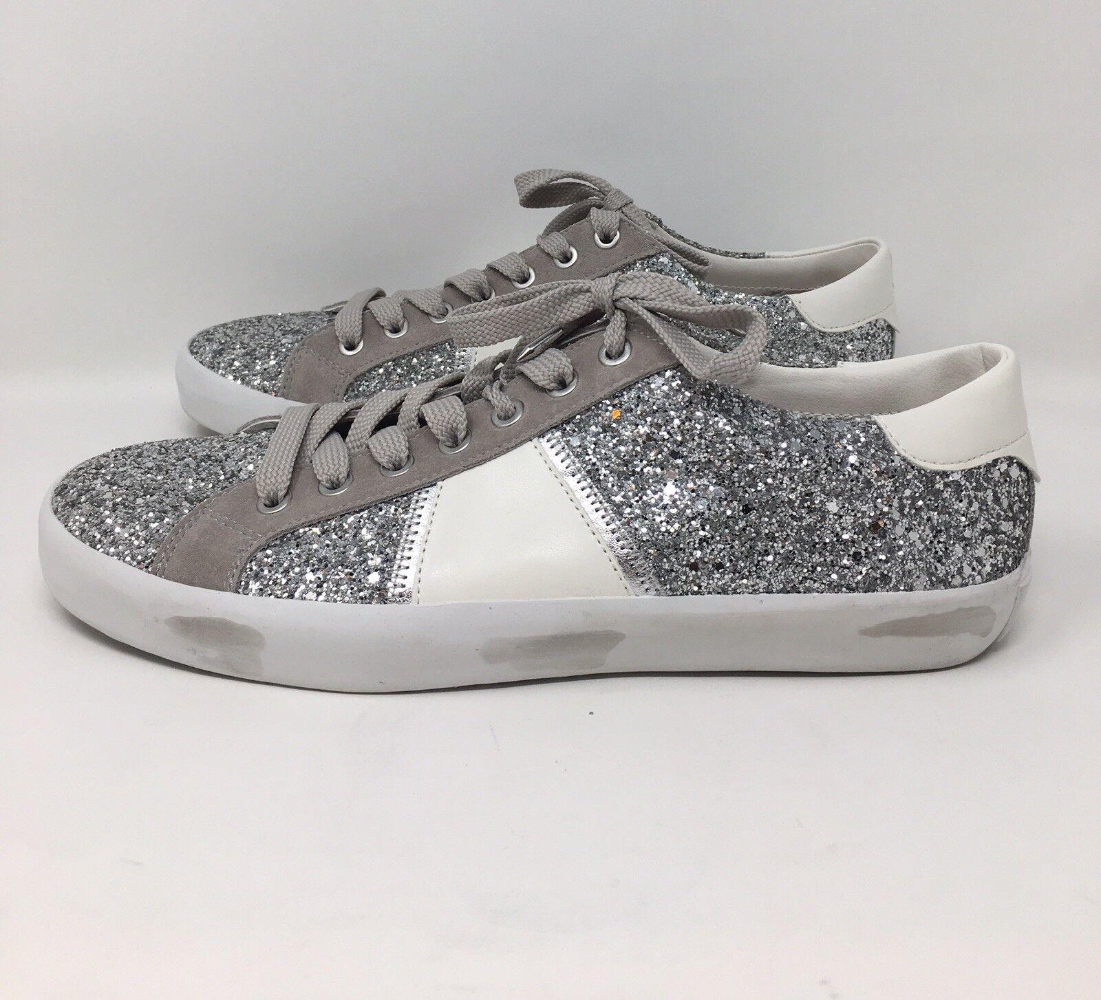 Sam Edelman Baylee Silver White Glitter Bedazzled Sneaker 10M
