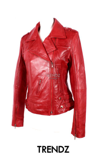 New Designer Jacket Biker Real 5816 Style Ladies Red Lambskin Emotion Leather qav7wWctz