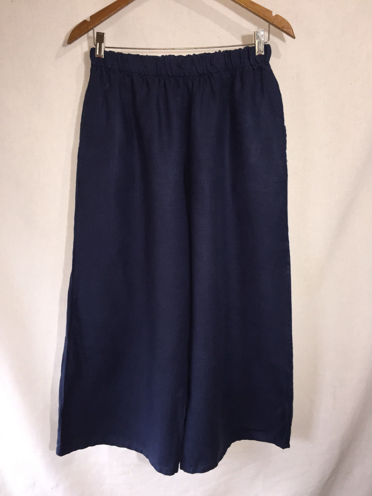 Bryn Walker Simple Comfortable bluee Linen Wide Leg Floods Pants Lagenlook S EUC