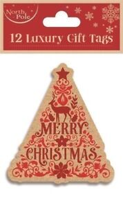 12-LUXURY-GIFT-TAGS-CHRISTMAS-TREE-XMAS-GIFT-WRAPPING-PRESENT-VARIOUS-DESIGNS