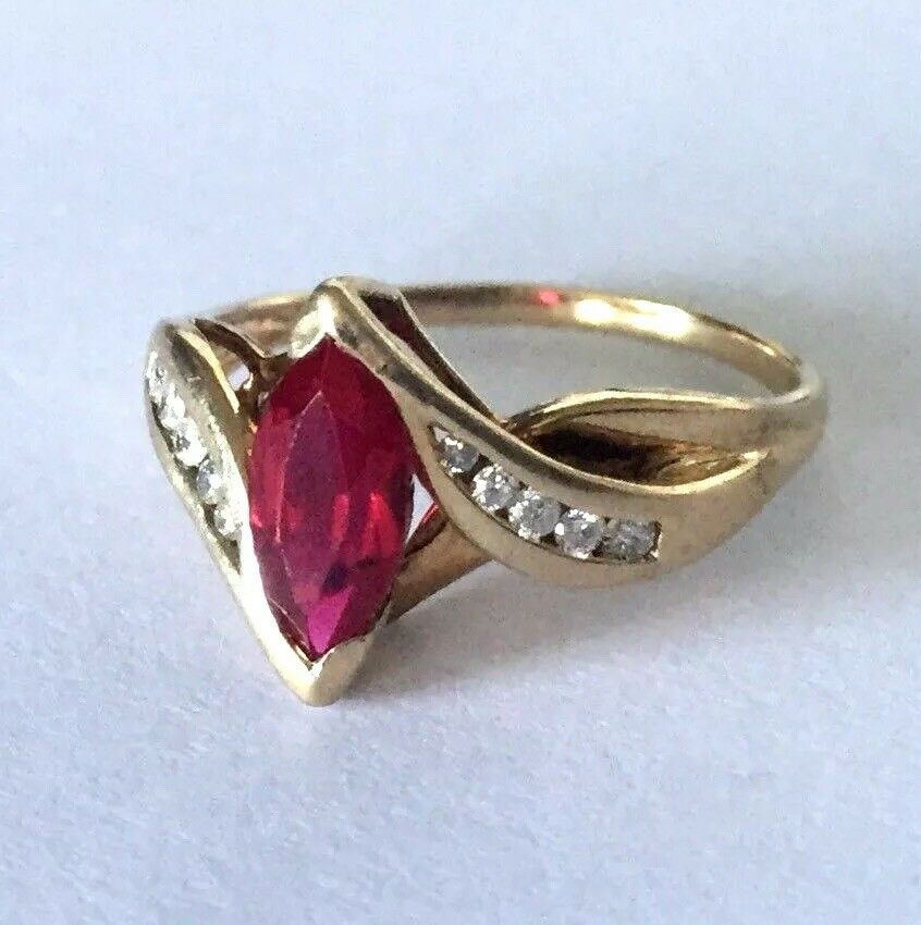 10K LGL Yellow gold Red Marquise Synthetic Ruby 10 Diamond Ladies Ring Sz 9 1 4