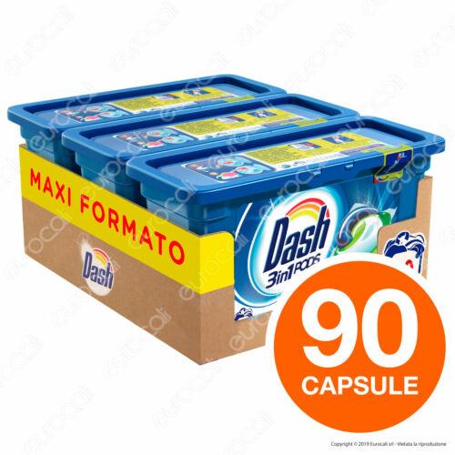 90 Pastiglie Dash 3in1 Pods Classico Detersivo Lavatrice in Capsule 90 Lavaggi