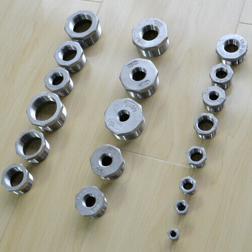 """1//4""""-2/"""" Male to Female M//F Threaded Reducer Bushing Pipe Fitting SS304 BSP"""