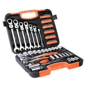 104-tlg-Werkzeugkoffer-Werkzeugbox-Werkzeugkiste-Werkzeugkasten-Knarrenkasten