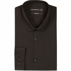 100% Wahr Mens Ex-store Black Formal Shirt Long Sleeve Slim Regular Fit Plain Work Collar GroßE Auswahl;