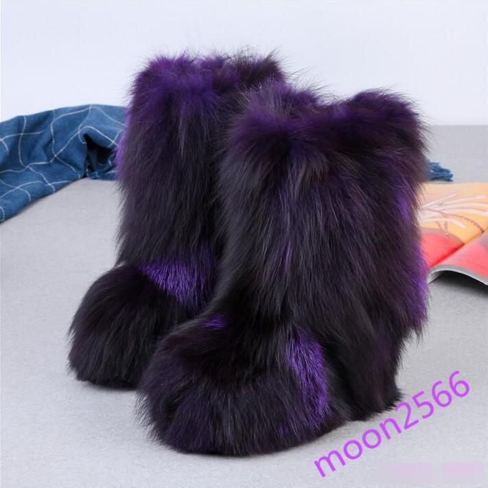 Luxury femmes Fluffy Mid Calf bottes Fox Fox Fox Real Fur Multi Couleur Winter Furry chaussures 52546b