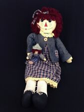 Unicorn Primitive Rag Cloth Raggedy Ann Doll With Tiny Andy Doll Shelf Sitter