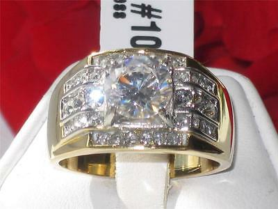 TK736 PB STAINLESSS STEEL MENS MANS   SIMULATED DIAMOND RING IMPRESSIVE  18KT