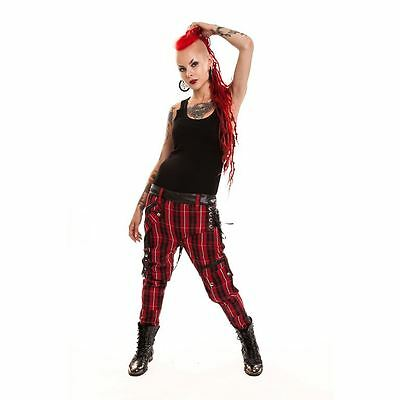 Vixxsin Chemical Pant Ladies Red Check Goth Emo Punk