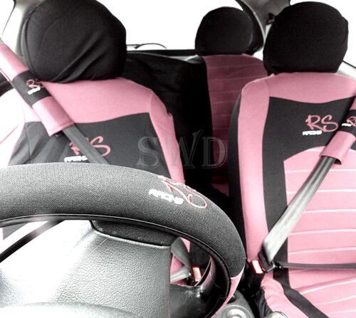 15pc Rosa RS Volante Cubierta de asiento de coche de carreras Tapetes Conjunto de Almohadillas de cinturón de seguridad