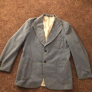 VTG-LEVI-039-S-PANATELA-DENIM-44L-SUIT-BLUE-RETRO-Jacket-Vintage-2-Button-Stained
