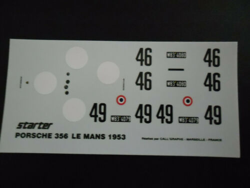 Decal  Porsche 356 coupé n°46//49 LM 53 decal starter 1//43° etat neuf