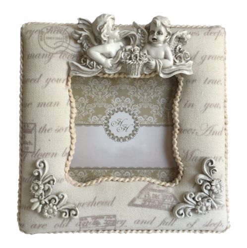 Angel Padded Fabric Sculpture Shabby Chic Free-standing 3 x 3 Photo Pic Frame