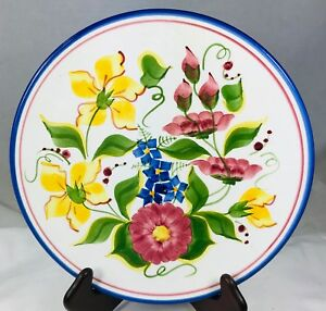 Cyprus Hand Painted Decorative Plate 9 5 Floral Design Vntg Wall Decor Signed Ebay