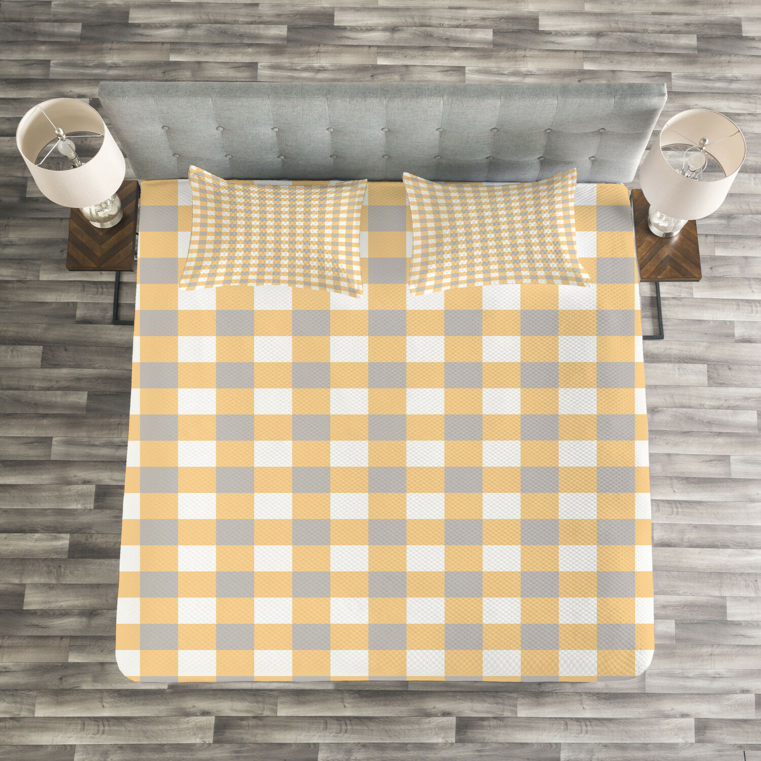 Geometrische Quilted Bedspread & Kissen Shams Set, Checked Shabby Old Print