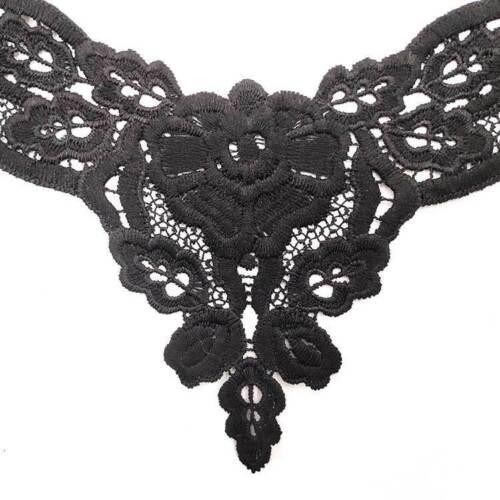 Apliques Bordado Floral encaje de corte ropa coser parche Hágalo usted mismo Cuello Collar de las decoraciones