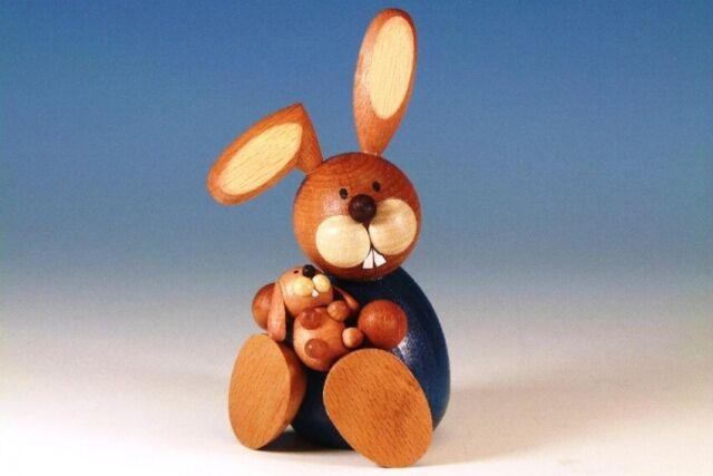 Osterhase sitzend mit Kind  11,0 cm groß NEU Osterfigur Holz Erzgebirge Ostern