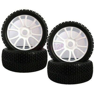 4PCS RC 1:8 Off-Road Buggy Car Foam Rubber Tyre Tires white Wheel Rim 84W-804