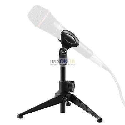 Adjustable Metal Desktop Table Mic Microphone Clamp Clip Holder Stand Tripod
