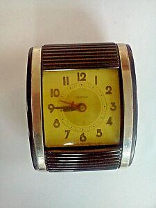 VINTAGE-WESTCLOX-1950-039-s-Travel-Alarm-Clock-Rolltop-PAT-039-D-USA-100297