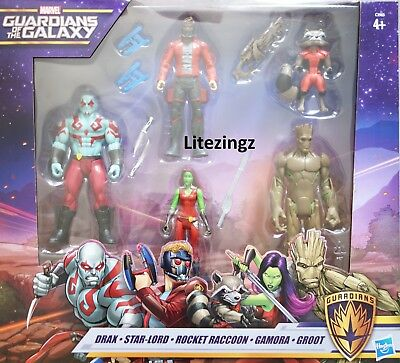 """MARVEL Guardians of the Galaxy 6"""" Hero Figures 5 Pack Drax//Star-Lord//Gamora"""