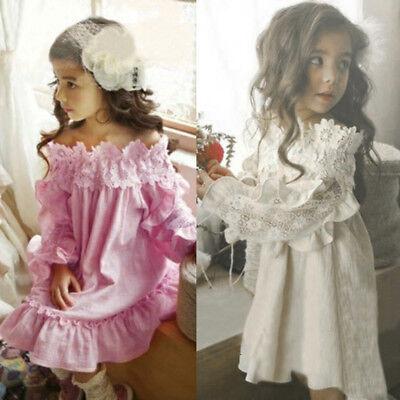 Toddler Kids Off Shoulde Leopard Pageant Princess Party Dresses Clothes Trendy