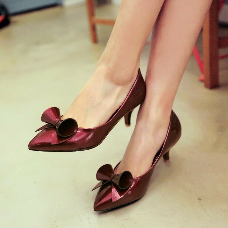 Ladies Stiletto Mid Heels Pointed Toe Slip on Bowknot Pumps Womens Court shoes