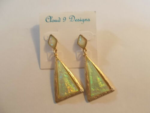 Tan Iridescent Dangle Flower Earrings