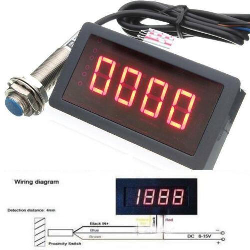 Digital LED Tachometer Drehzahlmesser 9999RPM Hall Proximity Switch Sensor DE