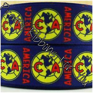 "Las Aguilas del America Soccer Team 1/"" wide grosgrain ribbon 5 yards listing"