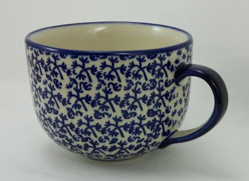 Bunzlauer Keramik Tasse Cafe Latte Milchcafe blau//weiß 0,45Liter F044-P364