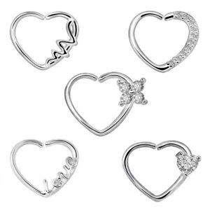 db47a4c36 2pcs Heart CZ Nose Ring Piercing Hoop Earring Helix Cartilage Tragus ...